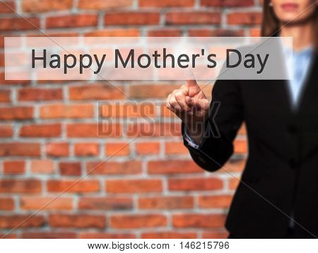 Happy Mother's Day - Isolated Female Hand Touching Or Pointing To Button