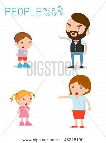 Scold children, father and mother scolding unhappy boy. Isolated
