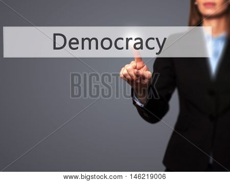 Democracy - Isolated Female Hand Touching Or Pointing To Button