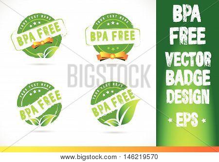 Bpa free Badge Logobadge label seal stamp logo text design green leaf template vector eps