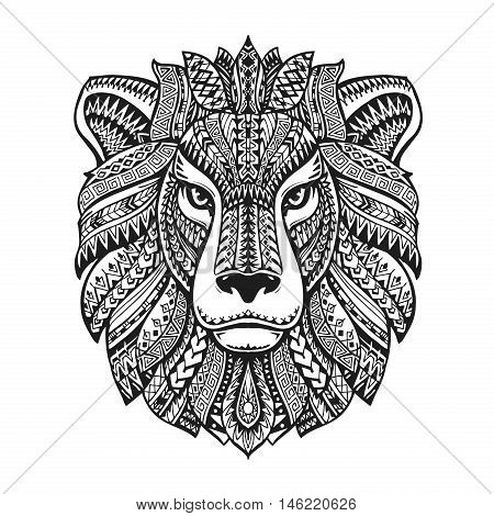 Head lion. Ethnic patterns. Hand-drawn vector illustration with floral elements. Leo, animal symbol