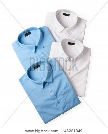 set of white and blue male shirts isolated on white background closeup