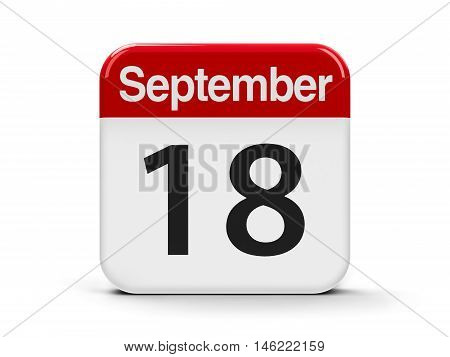 Calendar web button - The Eighteenth of September three-dimensional rendering 3D illustration