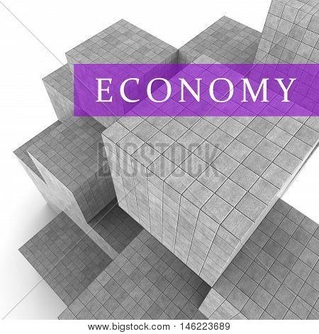 Economy Blocks Show Macro Economics 3D Rendering