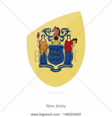 Flag of New Jersey in the style of Rugby icon. Vector Illustration.