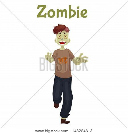 Man dressed in zombie costume for Halloween, cartoon style vector illustration isolated on white background. Running zombie, fancy dress for Halloween idea