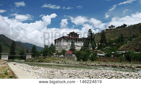 Landscape with Rinpung Dzong in Paro Bhutan
