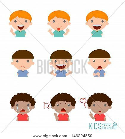 Set of boy expressions on white background, Expression set of kids,