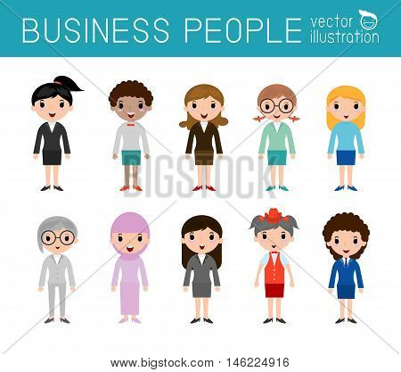Set of diverse businesswomen people isolated on white background. Set of full body diverse business people.Different nationalities and dress styles.people character cartoon concept.flat modern design