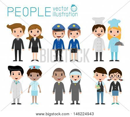 Set of diverse occupation people isolated on white background. Set of full body diverse occupation people. Different nationalities and dress styles. people character cartoon concept.flat modern design