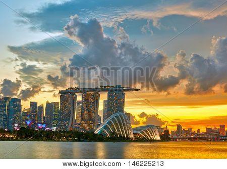 Singapore Skyline after sunset