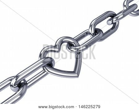 Heart link in a chrome chain isolated on white , Valentine's Day , 3d illustration