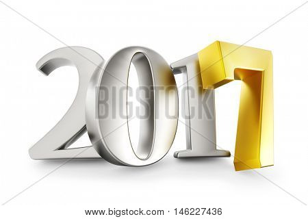 New 2017 year silver figures with gold 7 isolated on white background. 3D rendering.