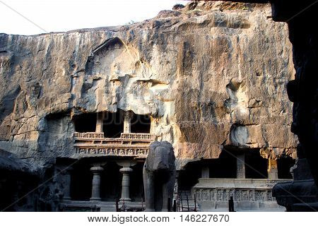 Rock-cut multi-storey Kailash Cave Temple at Ellora Maharashtra India Asia