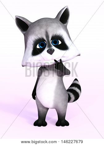 A cartoon raccoon looking really cute 3D rendering. Pink background.