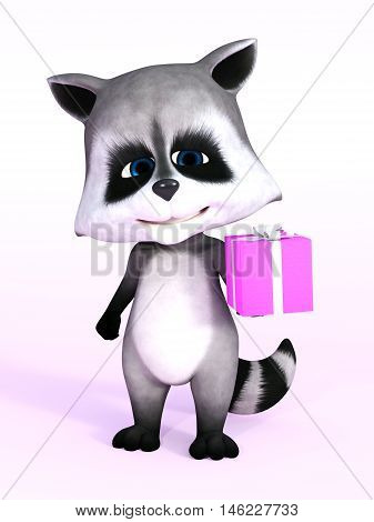 A cartoon raccoon looking really cute and holding a birthday gift in its hand 3D rendering. Pink background.