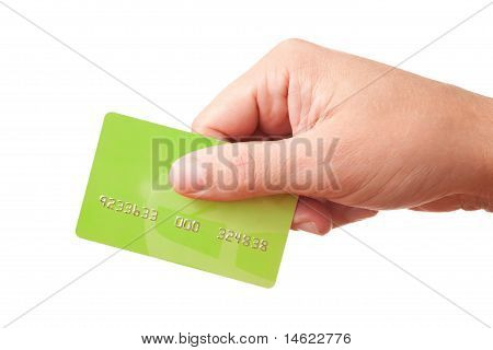 Hand holding green plastic card