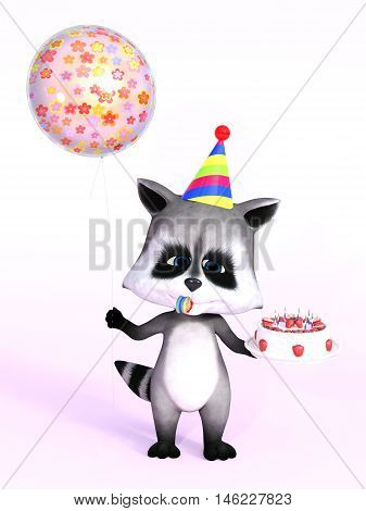 A cartoon raccoon looking really cute and holding a birthday cake in one hand and a balloon in the other 3D rendering. Pink background.
