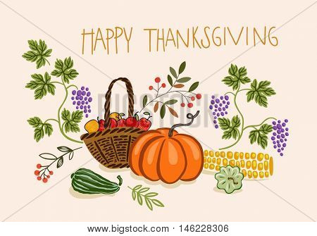 Vector Thanksgiving banner with fruits and vegetables