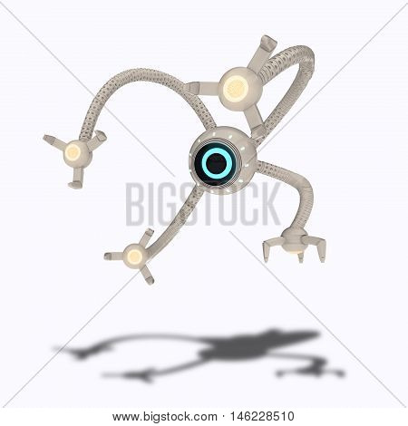 White futuristic flying robot with one eye and four bionics limbs with red neon lights. Observation drone concept. Control of artificial intelligence. 3d rendering