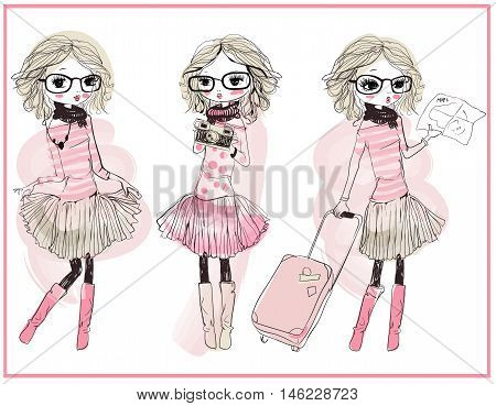set with three cute cartoon vector girls