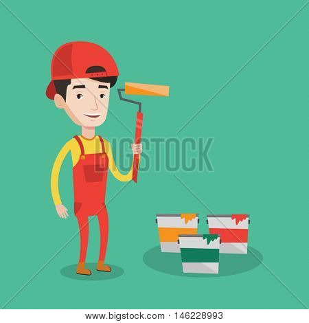 Joyful painter in uniform holding a paint roller in hands. Young cheerful painter at work. Smiling painter standing near paint cans. Vector flat design illustration. Square layout.