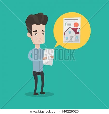 Young man looking at photo of a house on a digital tablet. Man seeking for appropriate house on a tablet computer. Man holding home purchase contract. Vector flat design illustration. Square layout.