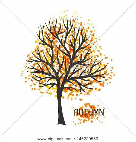 Background with autumn tree. Illustration of silhouette and abstract spots.