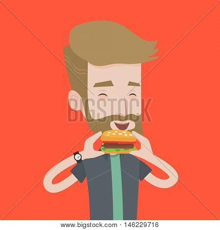 A hipster man with the beard eating hamburger. Happy man with eyes closed biting hamburger. Young smiling man is about to eat delicious hamburger. Vector flat design illustration. Square layout.