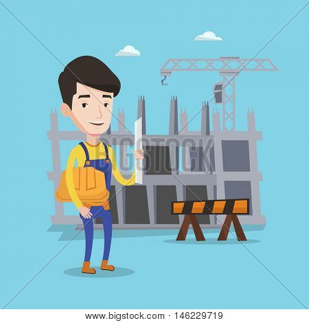 Young friendly engineer with a blueprint at construction site. Man holding a twisted blueprint and hard hat. An engineer checking construction works. Vector flat design illustration. Square layout.
