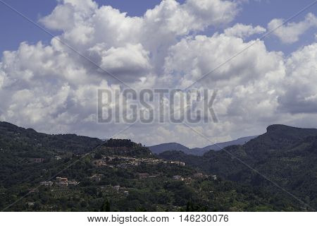 Terrati and its surroundings on a hot summer day Cosenza Calabria Italy.