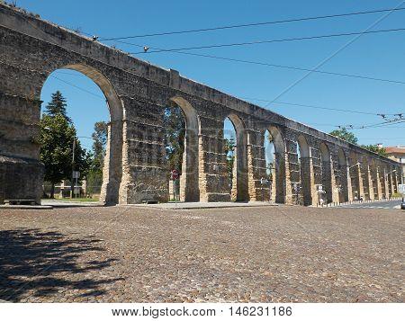 Aqueduto de Sao Sebastiao aqueduct of Coimbra Portugal.