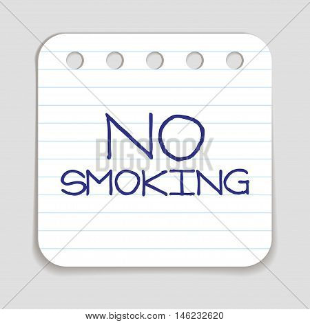 No smoking doodle icon. Stop smoking sign. Blue pen hand drawn infographic symbol on a notepaper piece. Line art style graphic design element. Vector illustration.