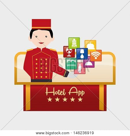 Bellboy and hotel apps icon set. Service technology media and digital theme. Colorful design. Vector illustration