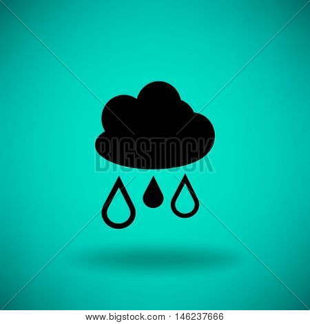 Flat icon. Cloud and drops. Rain comes from the clouds. Drip drop.