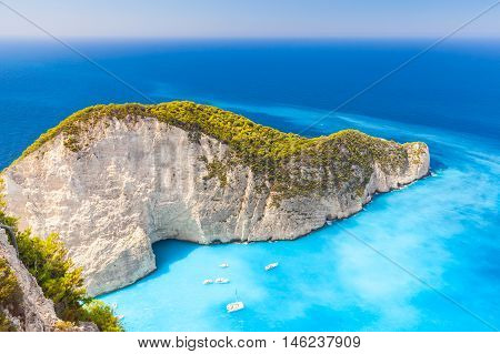 Navagio Bay With Moored Yachts