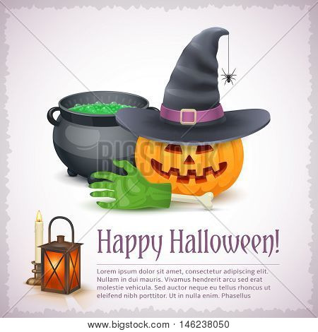 Happy Halloween card with pumpkin hat and cauldron. Awesome holiday vector illustration with text example.