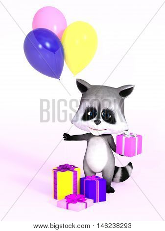 A cartoon raccoon looking really cute and holding a birthday gift in one hand and three balloons in the other 3D rendering. Pink background.