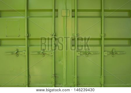 Side profile view of green cargo freight container isolated