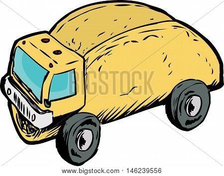 Single Empty Taco Dump Truck Drawing