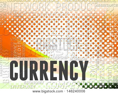 Currency Words Shows Foreign Exchange And Fx