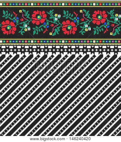 Embroidered old handmade cross-stitch ethnic Ukrainian pattern. Traditional Ukrainian folk art pattern - vyshyvanka called in vector