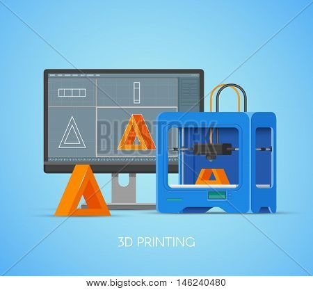 3D printing vector concept poster in flat style. Design elements and icons. Industrial 3D printer print objects from computer model.