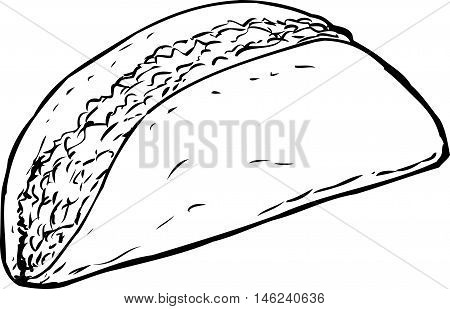 Outlined Full Beef Taco Over White
