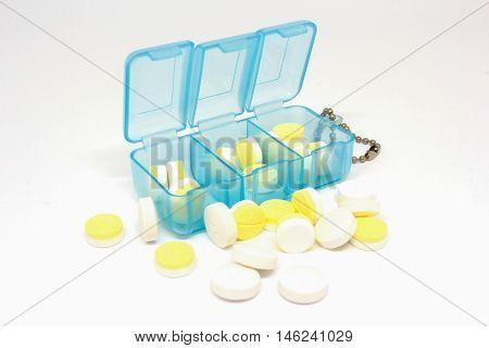 closeup splitter box pill on white background
