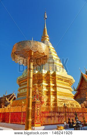 Wat Phrathat Doi Suthep is a Theravada Buddhist temple in Chiang Mai Province Thailand