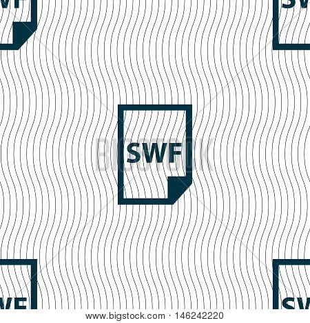 Swf File Icon Sign. Seamless Pattern With Geometric Texture. Vector