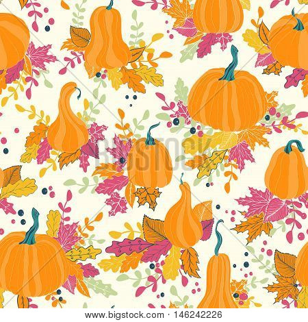 Seamless pattern with autumn pumpkins and leaves. Hand drawn holiday design for Thanksgiving