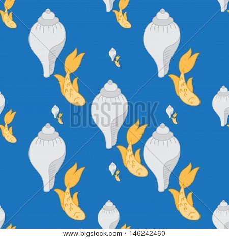 Gold fish exotic aquarium pet, sea background, summer water seamless pattern Outline icon with conch.