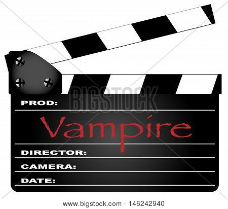 A typical movie clapperboard with the legend Vampire isolated on white.